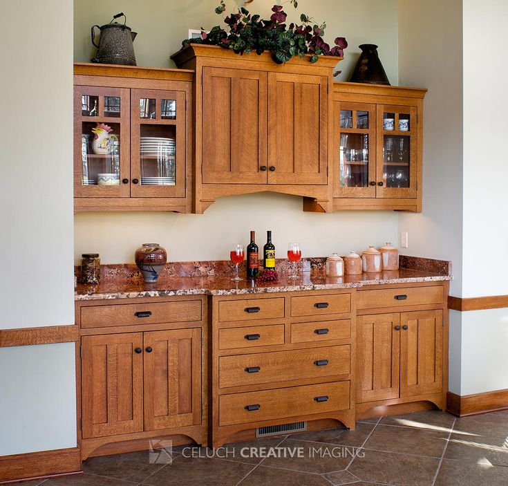 Buffet cabinets with granite tops granite top off your for Built in dining room buffet ideas