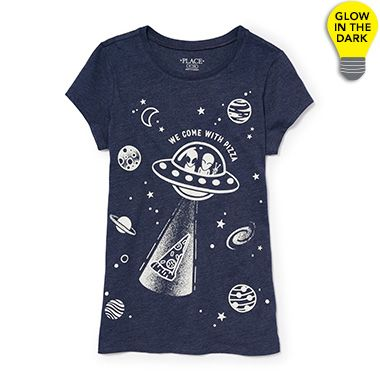 Girls Short Sleeve 'We Come With Pizza' Alien Glow-In-The-Dark Graphic Tee