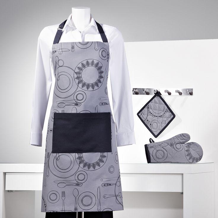 Delantal, paño para el horno y manopla. Modelo estampado www.sancarlos.es