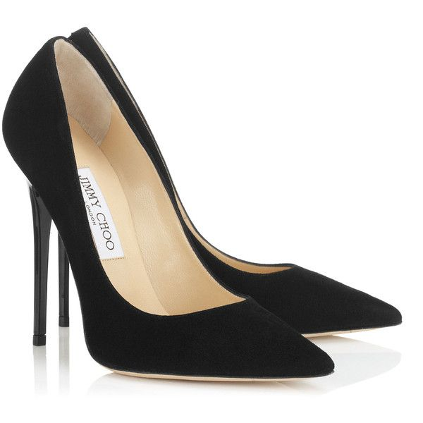 Black Suede Pointy Toe Pumps ANOUK (£385) ❤ liked on Polyvore featuring shoes, pumps, heels, sapatos, suede pointed toe pumps, summer shoes, jimmy choo pumps, black heel shoes and black shoes