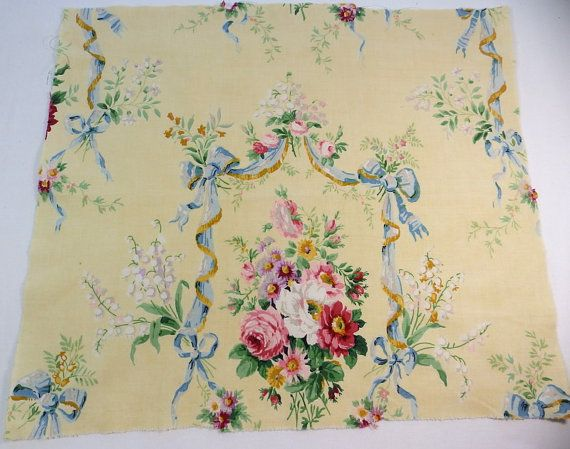 French vintage fabric with superb flowers by RagRescue on Etsy