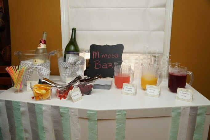 Mimosa Bar - Jouella's Ready to POP Baby Shower - Mint, yellow and Grey - Sheep - Chevron - By: Spicy Chic Handmade Creations