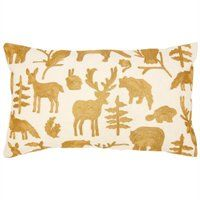 """Gold Animal Silhouette Pillow Cover - 12"""" x 21"""""""