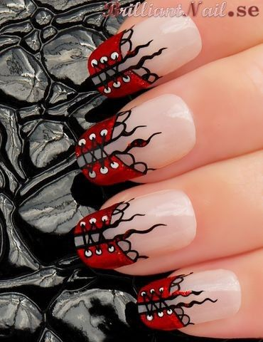 Corset Red Nail art design - NOT low maintenance, but CUTE! Thought of you @michyla Saunders