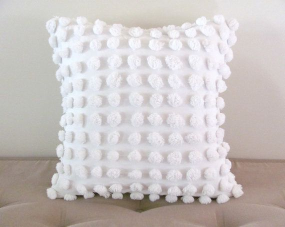 Decorative pillow cover SNOWBALLS cottage chic chenille white pillow cover, 14 x 14 inches, white pillow case, white shabby cushion cover,