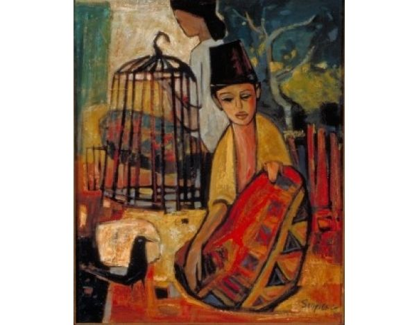Malay Boy with Birdcage; Artist: Cheong Soo Pieng; Year: 1961; Country: Singapore; Medium: oil on board; Dimensions: 59 x 50 cm