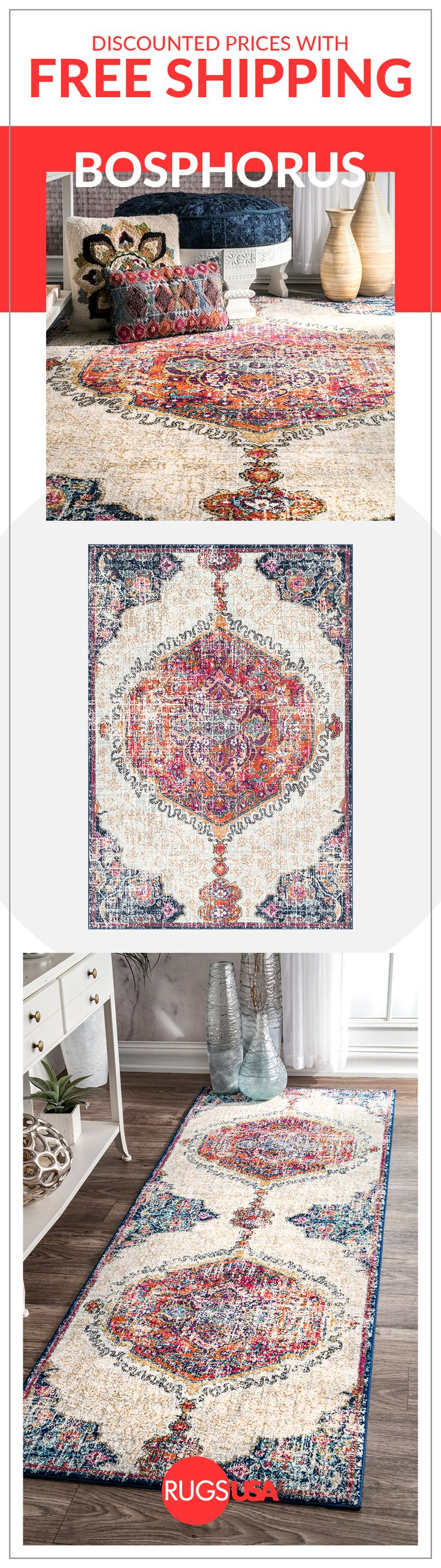 The Bosphorus Frilly Corinthian Medallion Rug is a gorgeous updated take on the Medallion Rug.