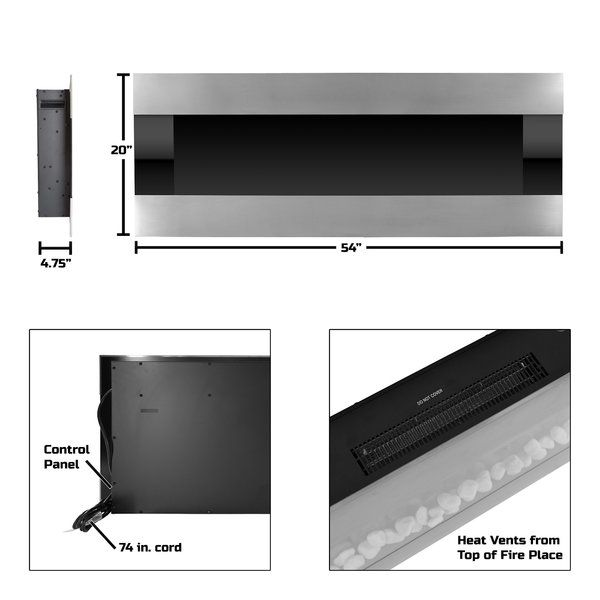Quesinberry Wall Mounted Electric Fireplace Wall Mount Electric