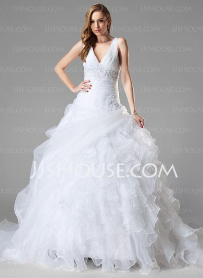 Wedding Dresses - $237.99 - Ball-Gown V-neck Chapel Train Organza Wedding Dress With Ruffle Lace Beadwork Sequins (002004781) http://jjshouse.com/Ball-Gown-V-Neck-Chapel-Train-Organza-Wedding-Dress-With-Ruffle-Lace-Beadwork-Sequins-002004781-g4781