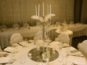 HI Everyone! How do you create Glamour Vintage Style just like the Great Gatsby? We were honoured to be involved in Jess and Steve's wedding reception at the Apollo International last weekend. Jess and Steve re created a very elegant theme, with silver plated candelabras, with strings of pearls swooning and ostrich feathers reclining gracefully...