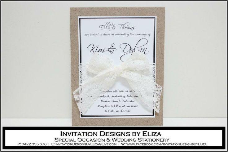 Invitation Design {Wedding} Rustic Lace Theme www.facebook.com/InvitationDesignsByEliza
