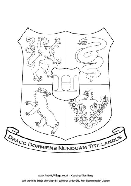 Hogwarts crest coloring page Can