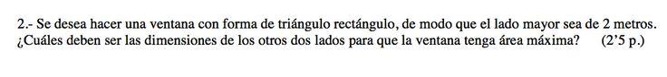 Ejercicio 2B 2010-2011 Setiembre. Propuesto en examen pau de Canarias. Matemática. Optimización.