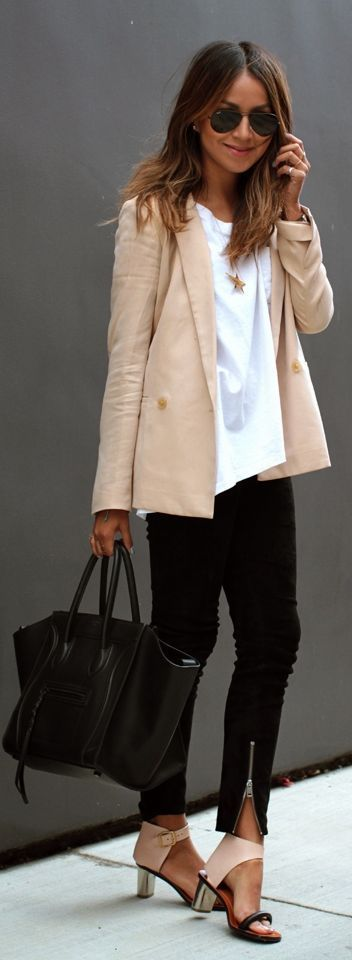 Tailored Lightweight Blazer , White Top and Black ...