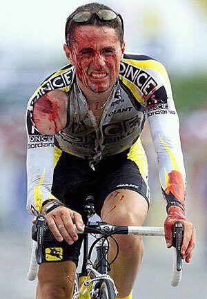 Professional cycling is the hardest, most difficult sport in the world. Doesn't matter if you crash over a cliff. If you can still petal, you can still finish the race.