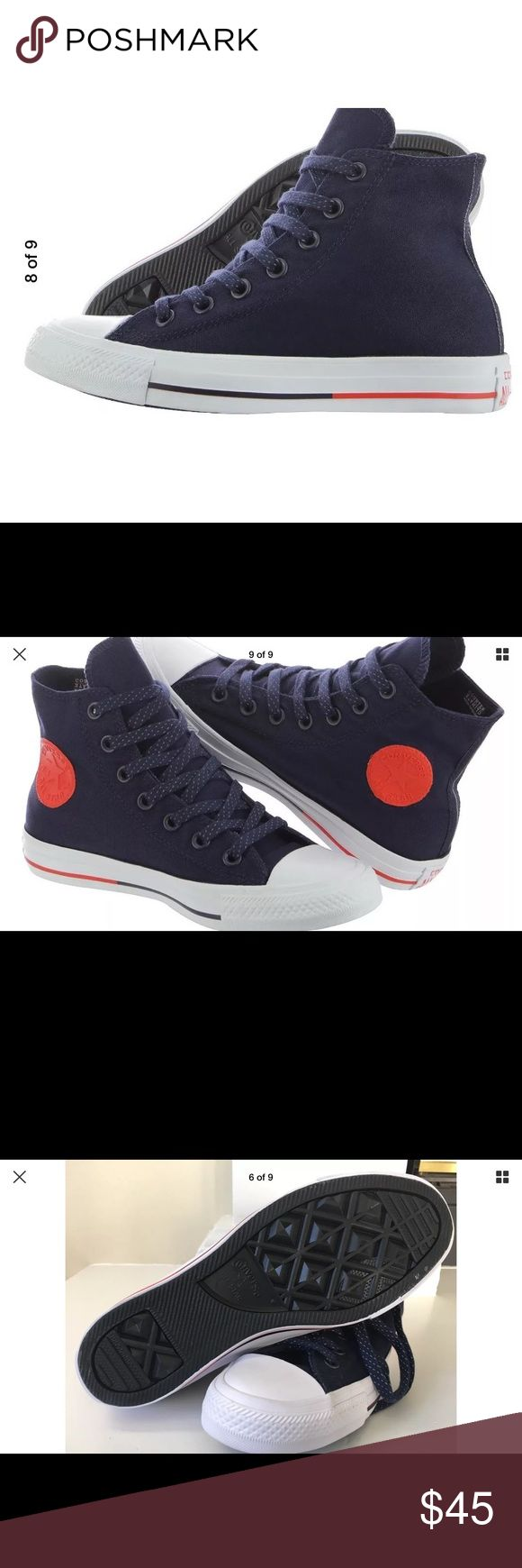 Converse counter climate obsidian canvas shoes 7 9 Brand new water repellent counter culture hi tops in Obsidian (dark blue-black) with orange emblem and detail on sole. Navy and white laces. New, no box. Never worn! Ladies 9, Men's 7 Converse Shoes Sneakers