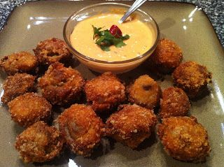 Low Carb - Deep Fried Mushrooms with Red Pepper Aioli Dipping Sauce