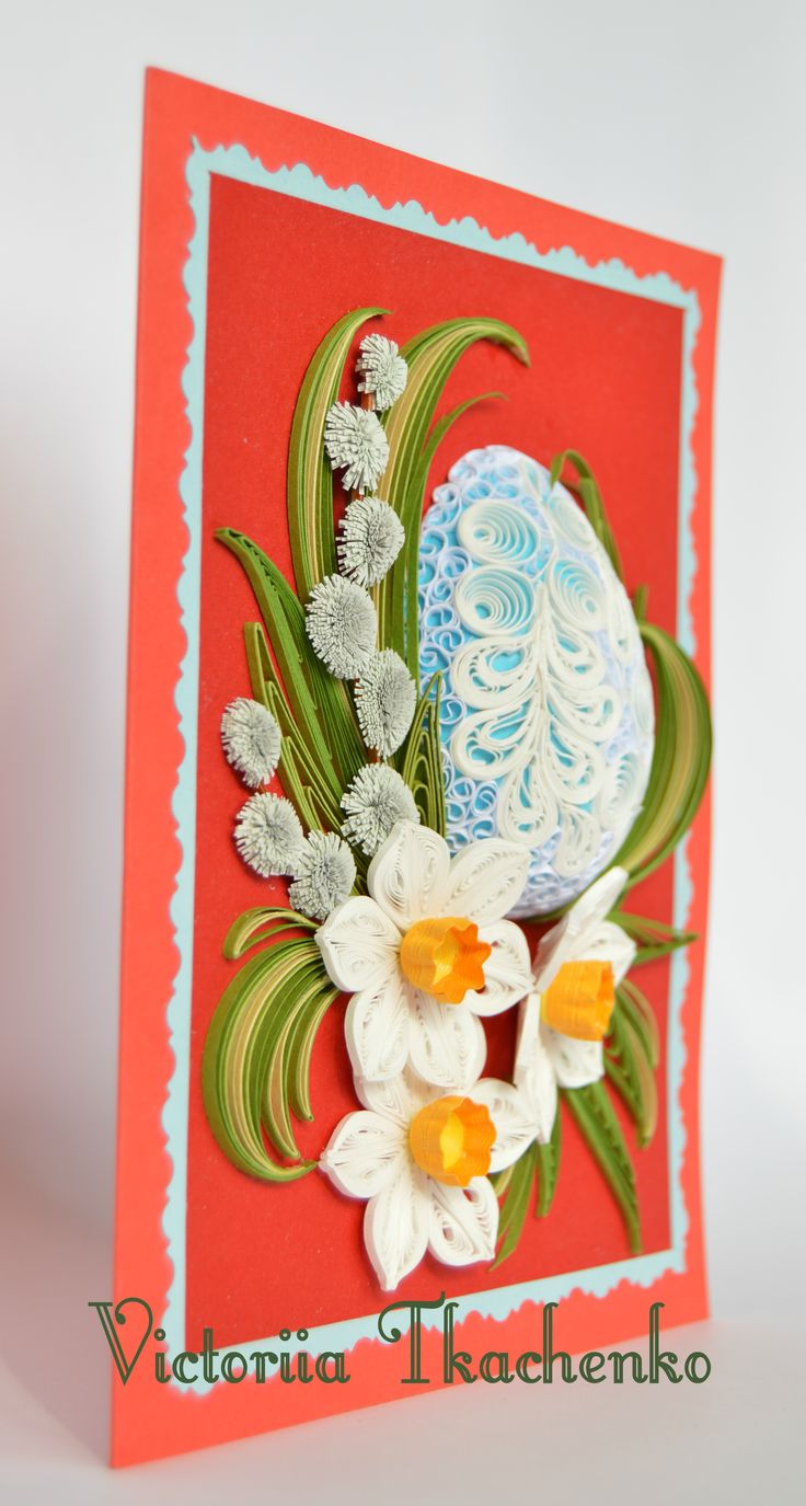 Easter quilling card easter day quilling card red blue for Quilling paper craft