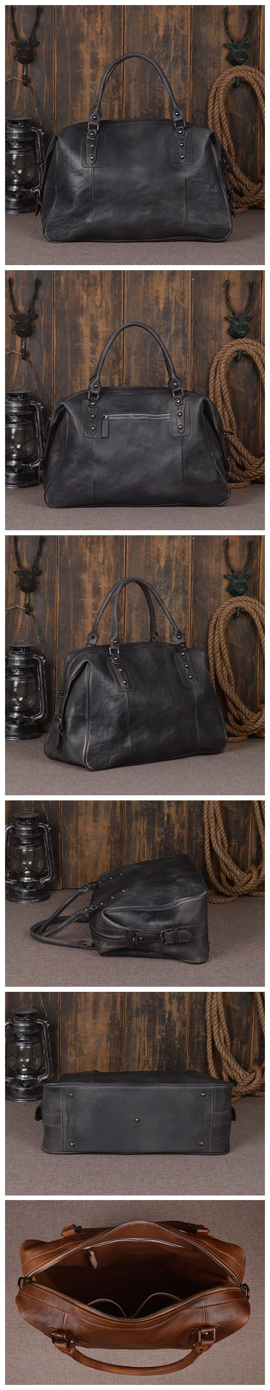 "Leather Duffel Bag for Men and Women Travel Luggage Gym Tote Bag 9029 Model Number: 9029 Dimensions: 16.9""L x 6.7""W x 11.4""H / 43cm(L) x 17cm(W) x 29cm(H) Weight: 3.5lb / 1.6kg Hardware: Brass Hardwar"