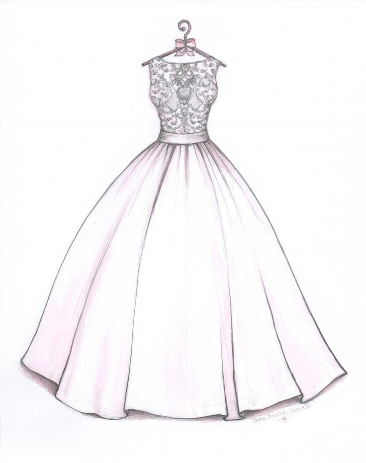 Ball Gown wedding dress sketch by Catie Stricker-Howell. Allure Bridal Gown.  #wedding dress sketch, #catiethesketchlady.