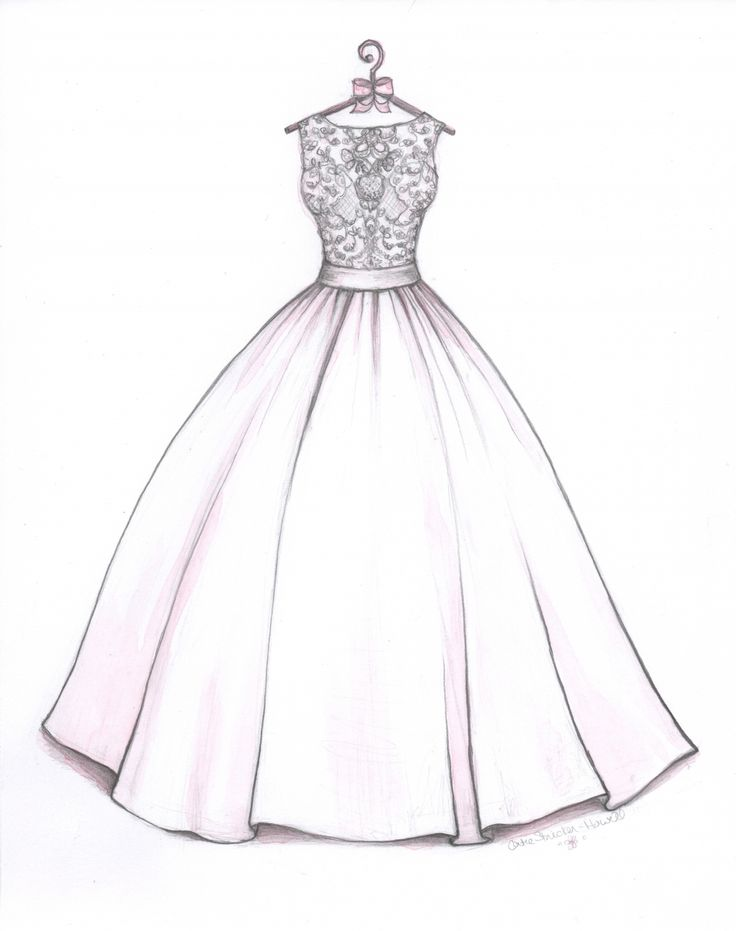 ball gown wedding dress sketch by catie strickerhowell