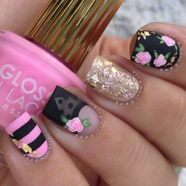 flower nail - 50 Flower Nail Art Designs
