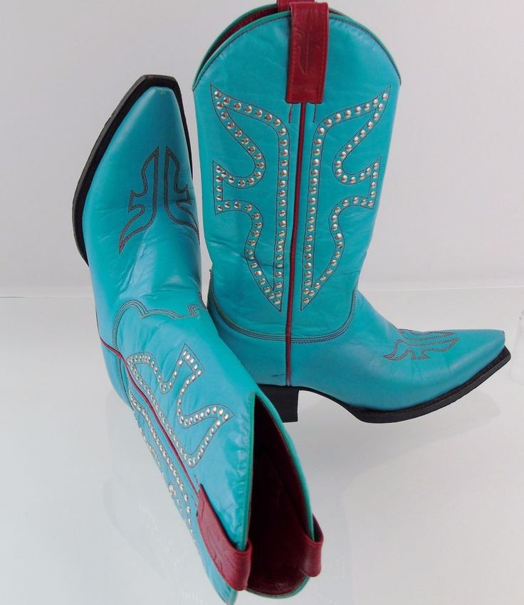 """Design: 77780. Model: Daisy Duke. Women's Western Cowboy Boots. Cowboy Boots ~ The classic symbol of the Great American West ~. Gets a Glam Makeover with Detailed Stiching and Studded Overlays! Shaft: 11"""", Studded, Accented with Red Side Pull Tabs.   eBay!"""