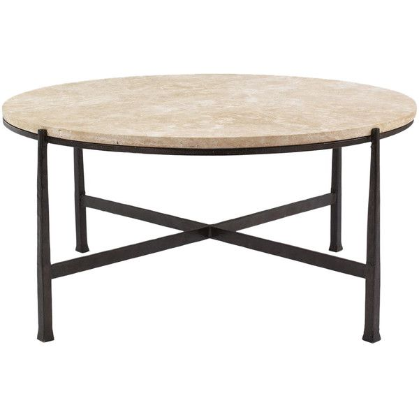 Norfolk Industrial Loft Round Metal Stone Patio Coffee Table ($1,583) ❤  Liked On Polyvore