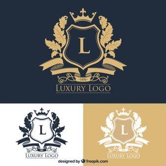 Pacote de logotipos elegantes com cristas