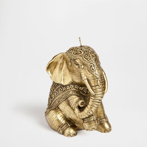 Golden seated elephant candle - Candles - Decor and pillows | Zara Home United States