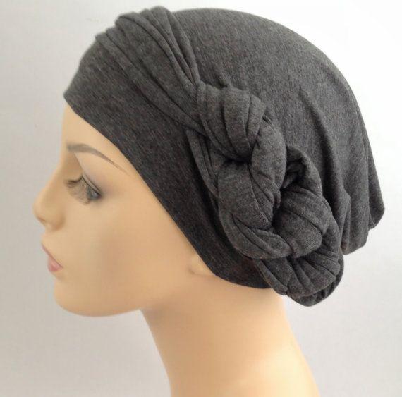 Charcoal Gray Heather Turban Head Wrap Alopecia Head by TurbanDiva, $49.95