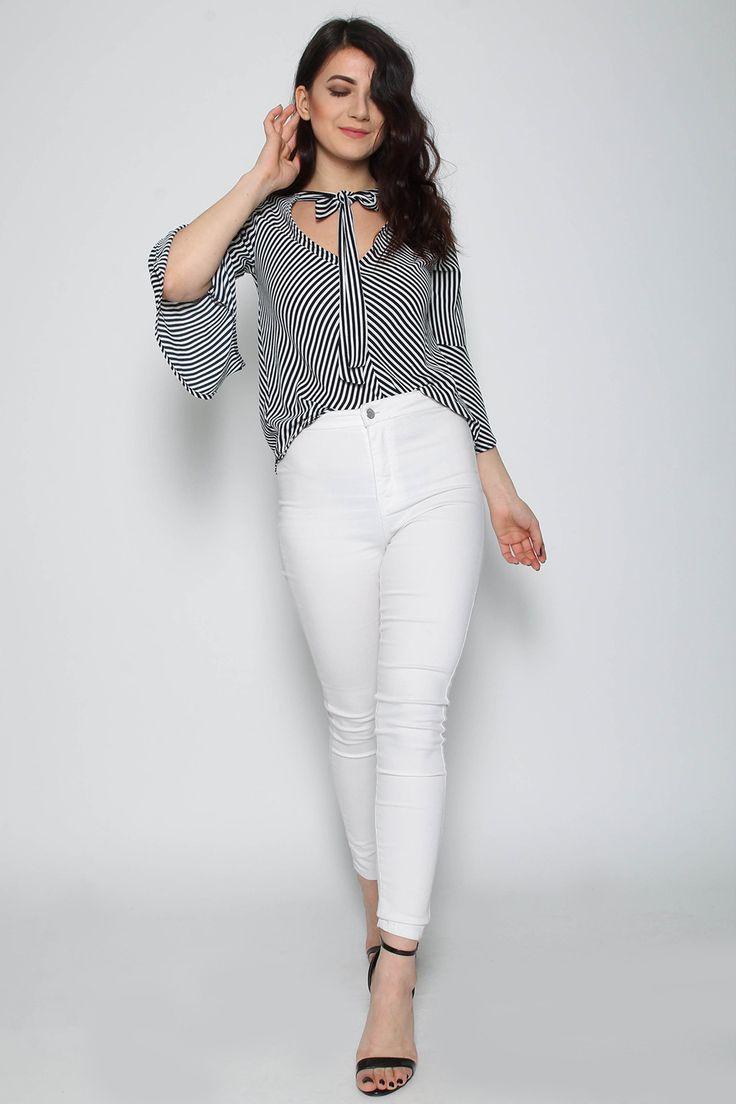 Wholesale Clothing UK, Online Fashion Wholesaler  Manchester & USA - Missi Clothing Tie Neck Stripe Top