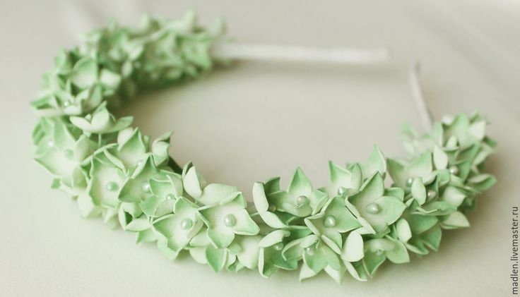 """Купить Ободок из фоамирана """"Гортензия"""" (зеленая) - зеленый, ободок, фоамиран, цветы гортензии, гортензия из фома"""