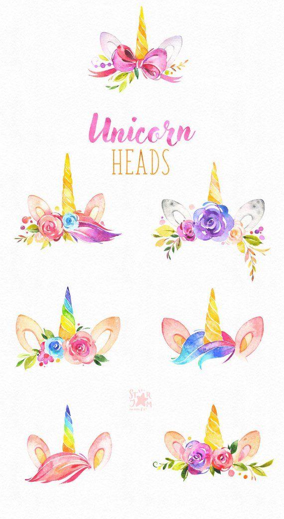 Têtes de Licorne. Clipart magique aquarelle, enfant, rose, arc en ciel, les filles, couronnes florales, fleurs, cils babyshower enfant, bébé, de voeux