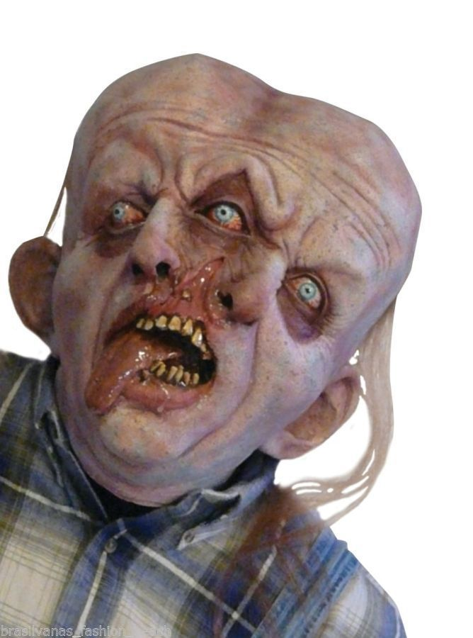 Deluxe Realistic Halloween Costume Gemini Horror Mask Creature Monster 2Cabecas