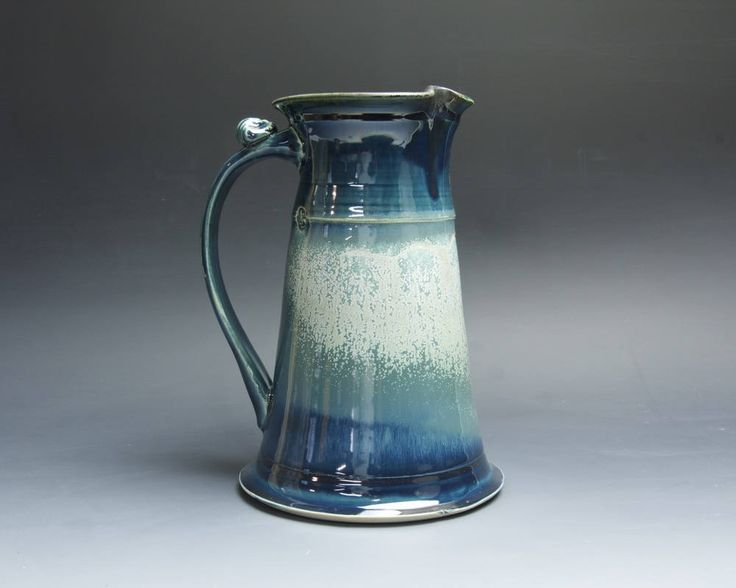 Sale - Handcrafted pottery sangria pitcher, 48 oz stoneware vase deep blue 4090 by BlueParrotPots on Etsy