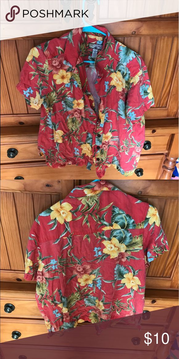Caribbean Shirt size medium. Good condition. Only worn a few times. Accepting reasonable offers. Tops Button Down Shirts