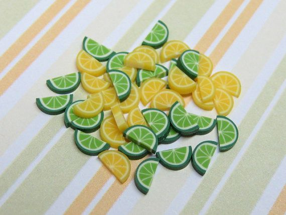 polymer clay cane lemon and lime wedges by MiniatureMakerSupply, $1.50