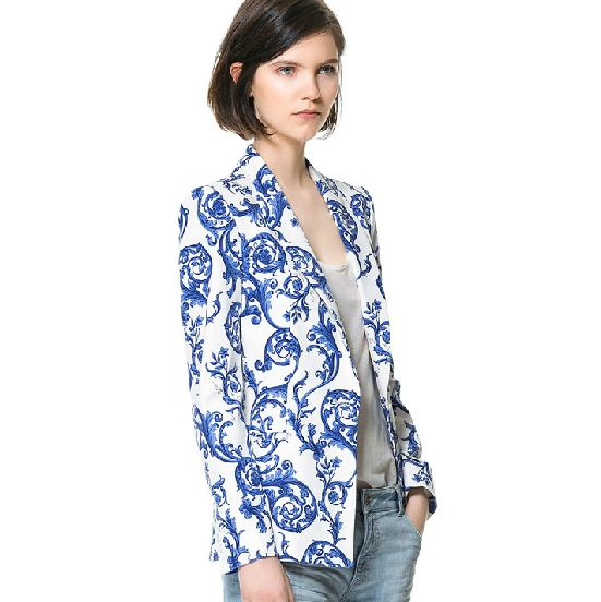 Wholesale Women blazer china style ceramic printing fashion a button slim tops HY-132305022 - Lovely Fashion