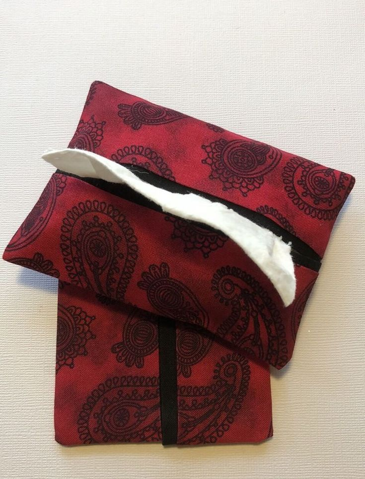 Red and Black Paisley Fabric Purse or Pocket Tissue Holders, Handmade  | eBay