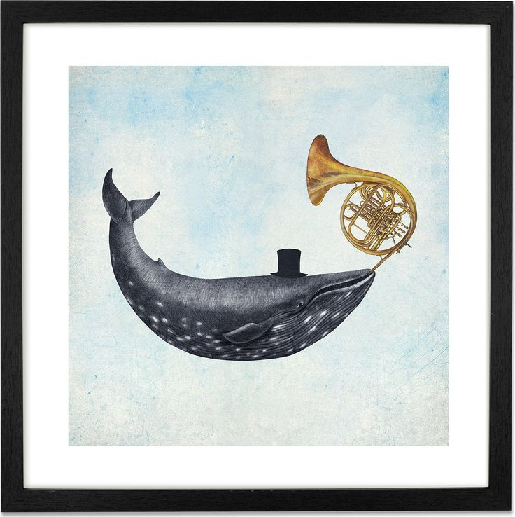 Whale Song by Terry Fan, 50 x 50cm Framed Print from Made.com. Multi-Coloured. Award-winning illustrator, Terry Fan, finds inspiration in storybooks..