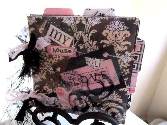 SOLD-Funky Pink and Black mini Envelope album love by whimsyfunk, $22.00