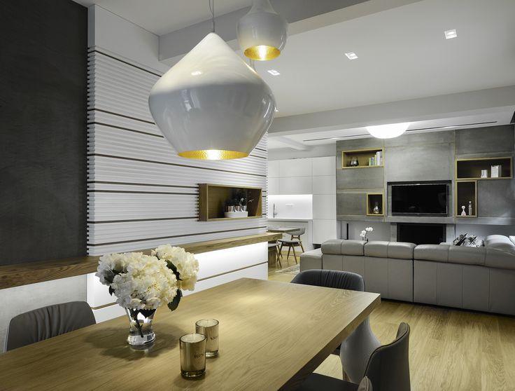 woodetails - modern home. White - Grey . Natural Oak table.