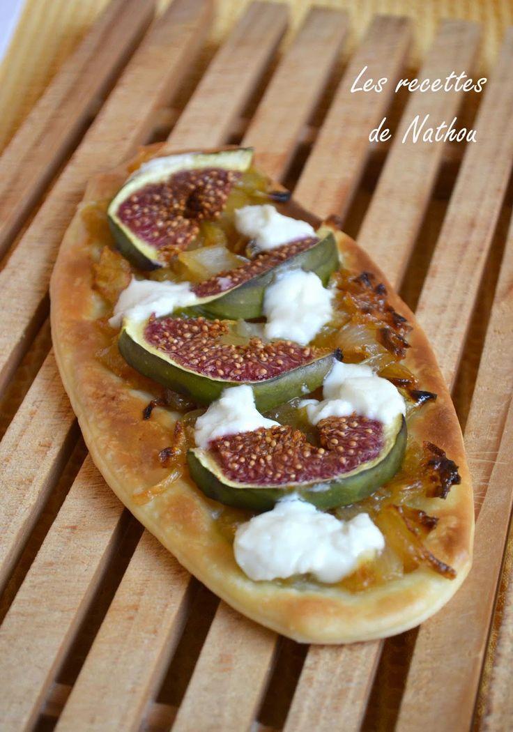 Les recettes de Nathou: Pizzetta aux figues, oignons confits et chèvre