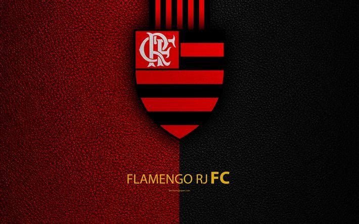 Download wallpapers Flamengo RJ FC, 4K, Brazilian football club, Brazilian Serie A, leather texture, emblem, logo, Rio de Janeiro, Brazil, football