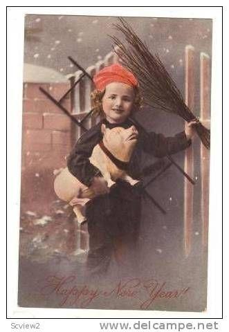 Happy New Year,Kid Carrys Pig,Straw Broom,00-10s