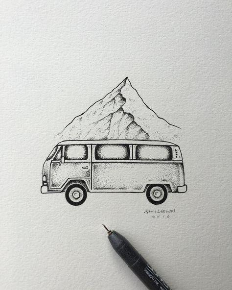 Detail shot from Wednesday's post.  #art #illustration #vw #mountain by samlarson