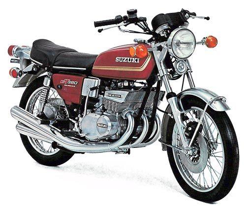 SUZUKI GT380M red 1975 Engine type: Air-cooled 371 cc inline-3 / 2-stroke / 38 hp/ 7,500 rpm,