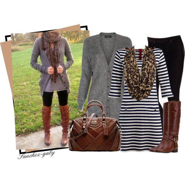 Striped Dress & Riding Boots