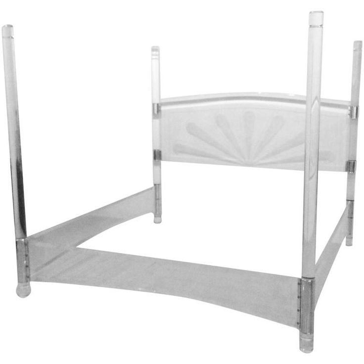 Lucite and Chrome Four Post Canopy Bed King-Size Vintage Headboard Mid-Century | From a unique collection of antique and modern bedroom furniture at https://www.1stdibs.com/furniture/more-furniture-collectibles/bedroom-furniture/